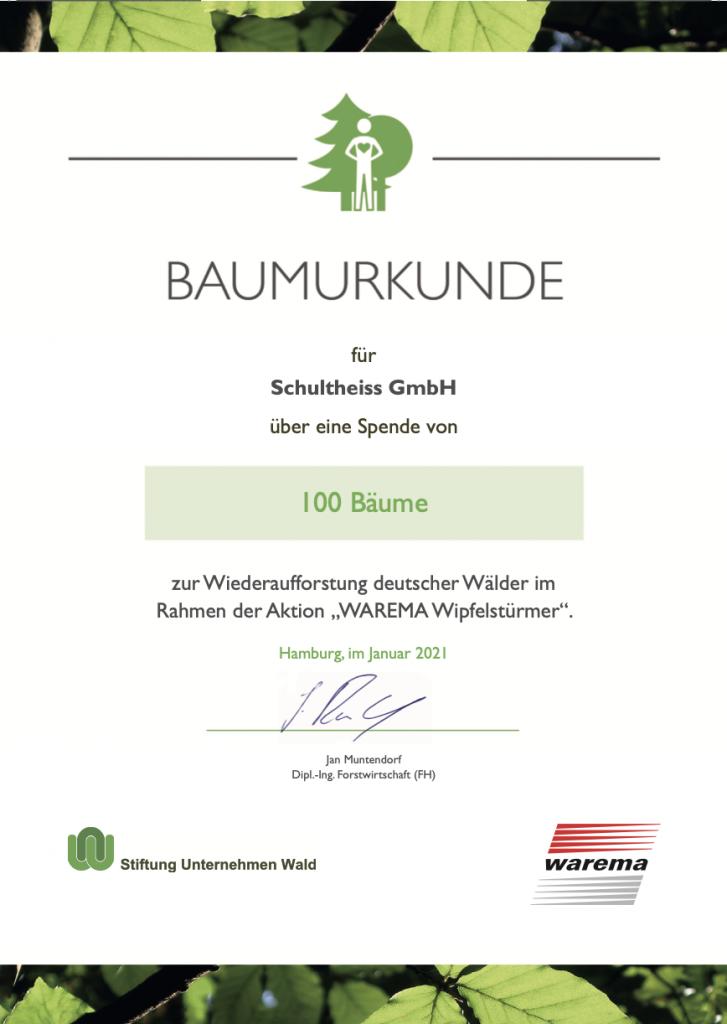 Urkunde Wipfelstuermer Warema Prime Partner