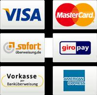 Kreditkarten, Giropay, SOFORT, Überweisung